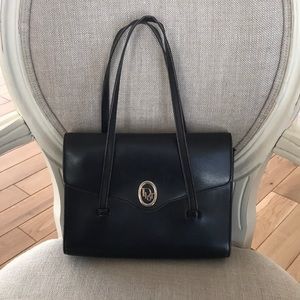 Vintage Authentic Christian Dior Black leather bag